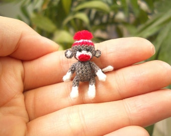 Sock Monkey 1 Inch Pom Pom Hat - Tiny Crochet Miniature Sock Monkey Stuff Animal - Made To Order