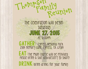 Family Reunion Invite - PRINTABLE DIGITAL INVITATION
