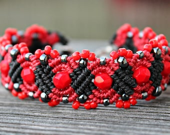 REDUCED. Micro-Macrame Beaded Cuff. Cuff Bracelet. Beaded Bracelet. Macrame Bracelet. Knotted Bracelet. Red Beaded Bracelet.
