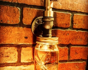 Industrial Steampunk Liquid Soap Dispenser with Mason Jar and cast iron pipe Simple soap pump rustic close out out! All sales final
