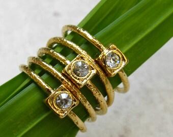 Stackable Rings, Crystal Ring Set, Swarovski Crystal, Textured Ring, Rings Set, Sparkling Ring, Boho Ring, Stacking Rings, Set of 3 rings