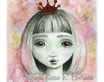 Blank Note Card, Little Princess, Cute Little Girl Wearing a Shiny Crown, Mixed Media