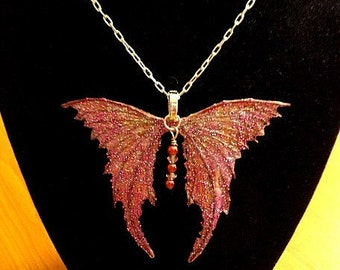 """Fairy Wings Jewelry-Ooak-Necklace with 18""""  Silver Chain (Made to Order by Request)"""
