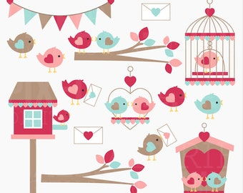 valentine clipart clip art birds love hearts - Love Birds Digital Clipart - BUY 2 GET 2 FREE