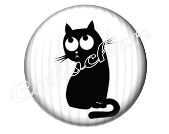 2 cabochons 20mm glass cabochon black cat silhouette, black and white tone
