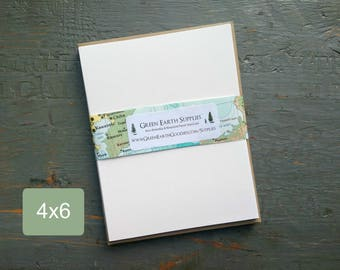 """100 4 x 6"""" Folded Cards with Kraft Envelopes, 100% Recycled, Blank Greeting/Photo Cards/Invitations, 4x6"""", 80-100lb, white or natural white"""