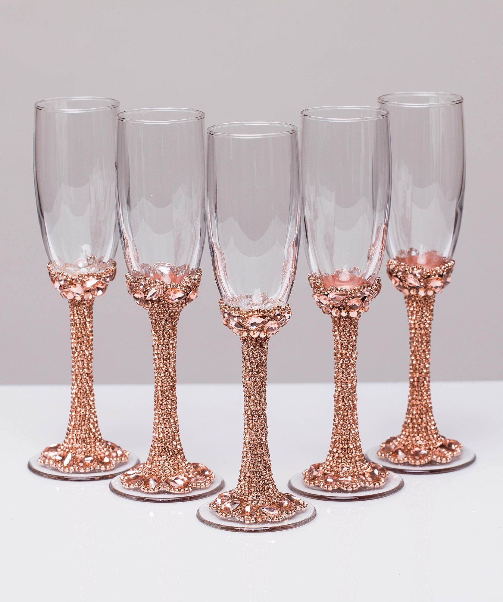 Personalized glasses rose gold Champagne flutes wedding