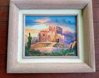 Vintage Southwest Pueblo oil painting by W. Zeller 20th Century framed