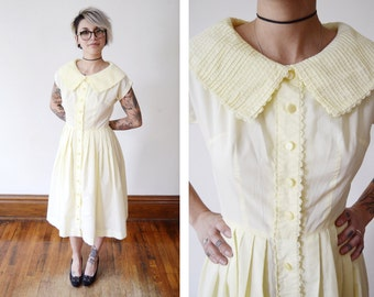 1950s Pale Yellow Shirt Dress - S