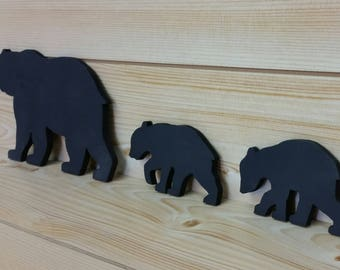 Black Bear Family - Black Bear Family of 3 - Bear Wall Art - Bear Woodwork - Wooden Bear Silhouette - Animal Art - Bear Family Art