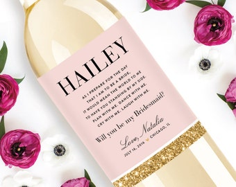 Custom Bridesmaid Wine Labels - Personalized Will You Be My Bridesmaid Gift - Weatherproof Removable Sticker Faux Glitter