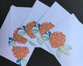 Orange zinnia flat note cards