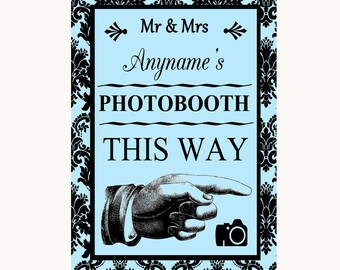 Sky Blue Damask Photobooth This Way Right Personalised Wedding Sign