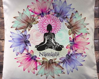 Exclusive Sublimation Print Buddha Zen Lotus Floral Namaste  Cushion Cover CUS03