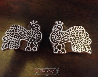 Wood Block Printing Hand Carved Indian Wood Textile Block Stamp Facing Peacock Pair