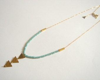 Brass Necklace, Mint Necklace,