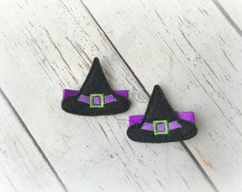 Halloween Hair clip Witch hat Embroidered Felt Hair Clips Pick one or two. Pick Left side or Right.