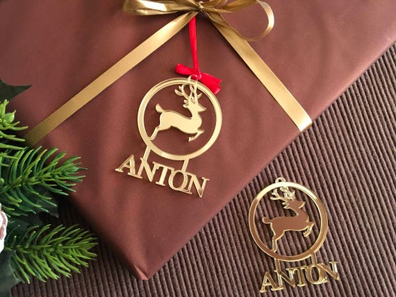 Personalized Christmas Name Gift Tags Personalised Christmas Bauble Name tree decorations Christmas deer Reindeer ornament Small Xmas bauble