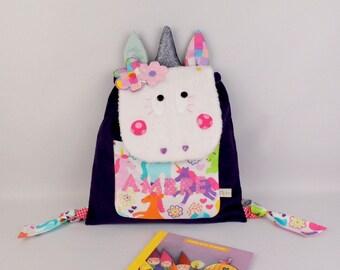 Sac à dos bébé Licorne personnalisable couleurs prénom Ambre cartable maternelle sac à gouter fille Licorne violet rose glitter cadeau fille