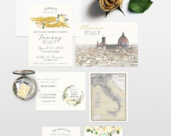 Tuscany Florence Italy Destination wedding invitation White florals watercolor Illustrated Wedding Invitation Suite Deposit Payment