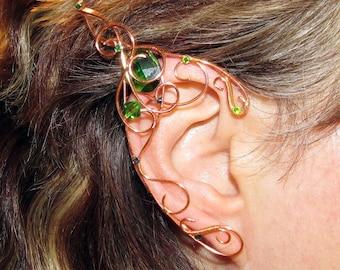 Long elf ears for wood elf costume, ear jewelry for woodland elf cosplay, elvish jewelry, Sidhe, elven ears, LARP, faery, fairy ears