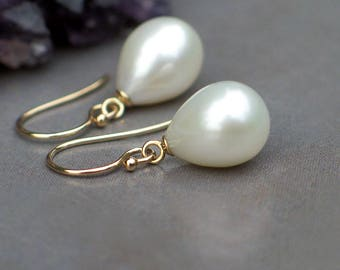 14k Gold Earrings   Large Ivory White Freshwater Teardrop Pearls   Classic Teardrop   Birthday Gift   Bridal Pearl Jewlery   Ready to Ship