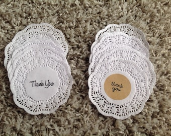 Paper doilies, hand stamped thank you tags, doily tags, thank you doilies, thank you tags
