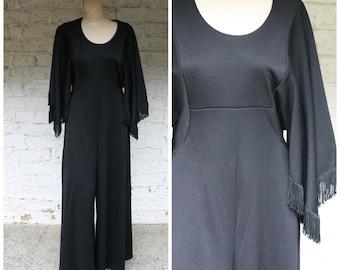 70s Fringe Pantsuit / Bell Bottom Jumpsuit / Palazzo Fringed Pantsuit / Vintage Bohemian Pantsuit / Black Boho Pantsuit / Vintage Pantsuit M