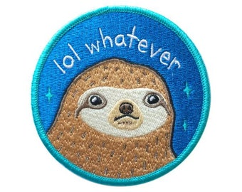 "Lol Whatever Sloth 3"" Iron-on Patch - 3-inch Embroidered Blue Illustration by Sparkle Collective"