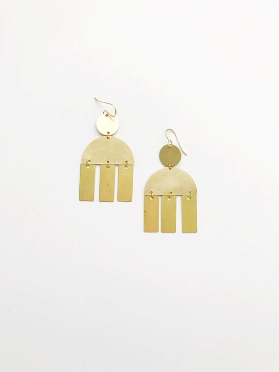 Brass Rectangle Drop Earrings