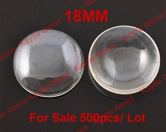 Vente 500pcs 18mm ronde gros Cabochon en verre clair