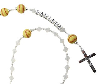 Softball Name Rosary for First Communion Gift for Girls- White Opal- Christening, Baptism, Catholic Prayer Bead gift Swarovski crystals