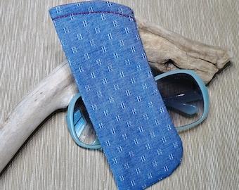 Eyeglass Case, Denim Blue Fabric Eye Glass Case , Sunglasses Case, Eye Wear Case, Case for Glasses, Gift under 10, Gift for Mom