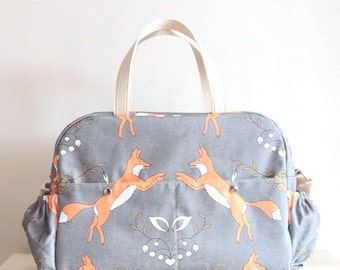 Fox Big Diaper Nappy bag  / eco canvas and faux leather /Playful Foxes /big versatile and practical bag/ baby bag/changing bag