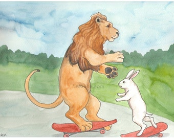 Lion on a Skateboard - Watercolor Rabbit Painting