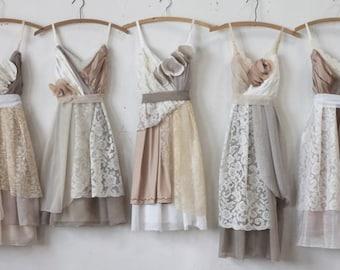 Custom Neutral Grey and Tan Bridesmaids Dresses