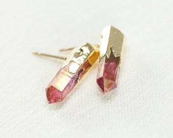 Keilani earrings - pink quartz point stud earring, gold stud earring, quartz gold earring, gold boho earring, boho jewelry, maui, hawaii