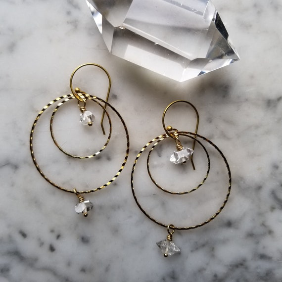 Herkimer diamonds on textured brass connected circles rings hoops