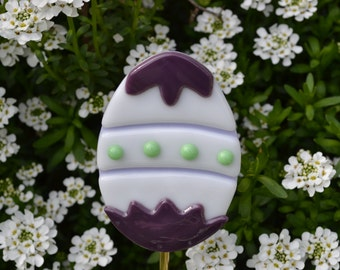 Decorated Easter Egg Plant Stake, Fused Glass, Purple