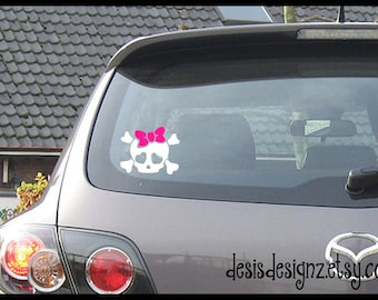 Skull vinyl car decal, car window decal, vinyl window decal, window stickers, skull decals, girl bow decals, funny car window decals