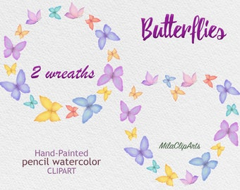 Butterflies clipart, wreath of butterflies clipart, digital butterfly clipart,Hand-painted watercolor pencils,greeting card,instant download