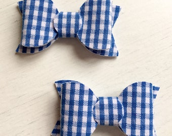 Pair of Blue Gingham School Bows