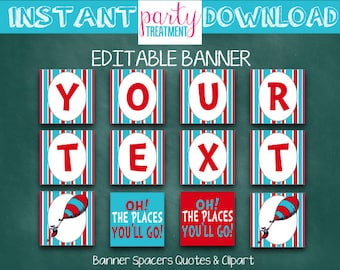 Editable Instant Download Seuss Oh the Places Banner