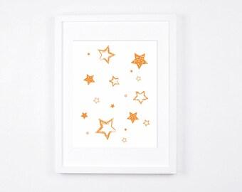 Orange Stars Nursery Art Printable, Stars Art, Modern Wall Art, Orange Nursery Digital Print, Cheerful Baby Room Decor, Kids Room