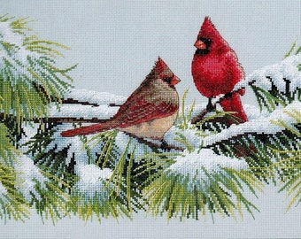 Dimensions Counted Cross Stitch Kit, #35178, Winter Cardinals, Marc Hanson, winter, birds, needlework, home decor, Christmas, gift