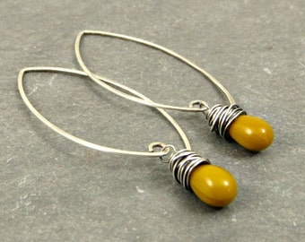Mustard Yellow Earrings, Sterling Silver Glass Teardrops, Eco Friendly Jewelry, Gifts for Her