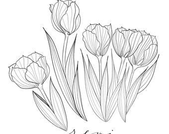 Revive Tulip: Printable Art/Coloring Page