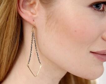 Chevron Swing Chained Earrings