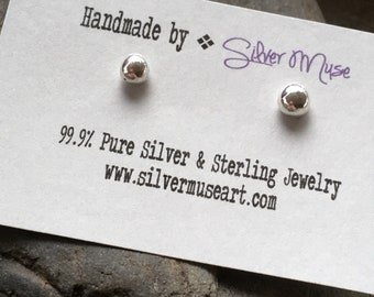 Every day fine silver ball stud earrings, recycled silver, READY TO SHIP