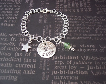 Hand Stamped Jewelry BRACELET for LITTLE GIRLS custom lengths, Sterling Silver with charm and birthstone